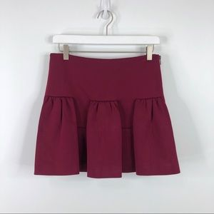 Manoush Box Pleated Mini Skirt Bordeaux Zipper